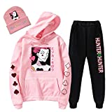 Hisoka Cosplay Hoodie Set Anime Hunter x Hunter Hisoka Sweater + Sweatpants + Hat for Men and Women (pink, X-Large)