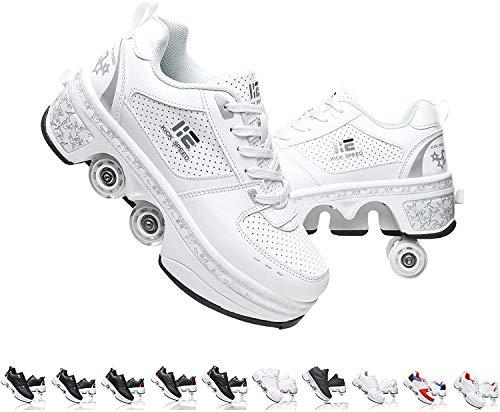 SHHAN Unisexo Patines Doble Fila Zapatos De Deformación Ajustable Patio Multiusos 2 En 1 Patín En Línea Botas,Plata,35