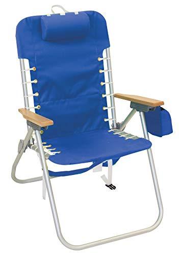 """Rio Beach Hi-Boy 17"""" Suspension Folding Backpack Beach Chair - light blue"""