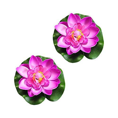 AZXAZ 2 Schwimmende Lotusblume Teich Dekor Künstliche Blume wasserdicht für Pool aquarien Dekoration (Rosa)