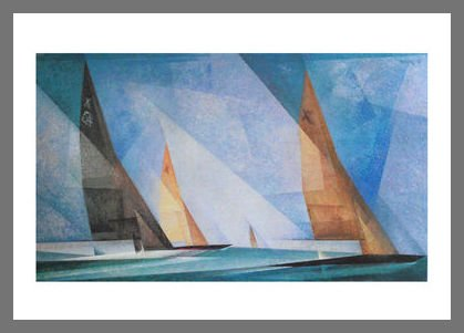 Germanposters Lyonel Feininger Segelboote Poster Kunstdruck Bild im Alu Rahmen in Champagne 70x50cm
