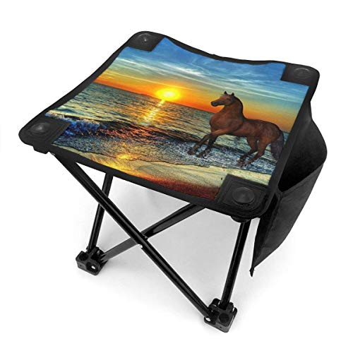 End Nazi Tabouret de Camping chaises Pliantes Horizon Morning Horses Beach Sunmmer Day Siège de Chaise Portable