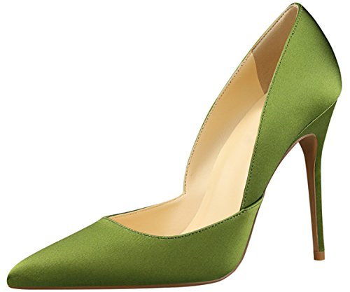 BIGTREE Elegant Damen Kleid Pumps Seide Spitze Zehen High Heels Schuhe Slip On Grün 38 EU