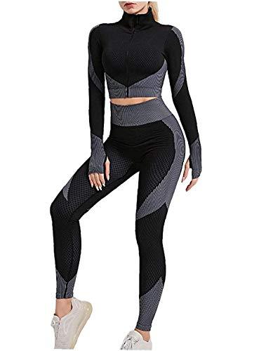 Berrywho 3 Pezzi Senza Cuciture Tuta da Yoga Cappotto Manica Lunga Gilet Leggings Tuta Fitness Palestra Abbigliamento Sportivo Set di Abbigliamento Tute Yoga (Nero, Grigio, S)