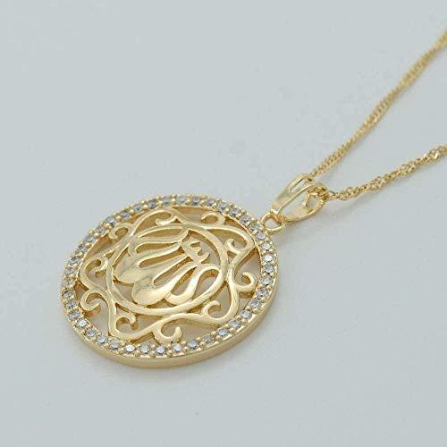 ZGYFJCH Co.,ltd Collar de circonita cúbica de Color Dorado, Collares de Alá para Mujer, Productos Musulmanes CZ, joyería, Colgante árabe, Oriente Medio