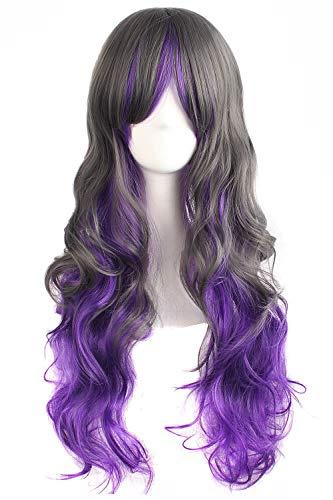 """MapofBeauty 28"""" Wavy Multi-Color Lolita Cosplay Wig Party Wig (Purple/Grey)"""