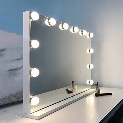 WAYKING Vanity Mirror with Lights Hollywood Lighted Makeup Mirror with 12 Dimmable LED Bulbs, Tabletop or Wall Mounted Mirror with USB Outlet and 3 Lighting Modes (H17.3 X L22.8 Inch)