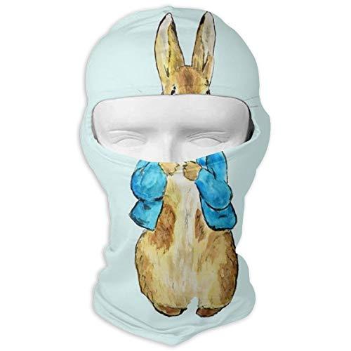 N/A Full Face Masker Schattig Konijn In Blauw Jas Hood Zonnebrandcrème Masker Dubbele Laag Koud Voor Mannen En Vrouwen