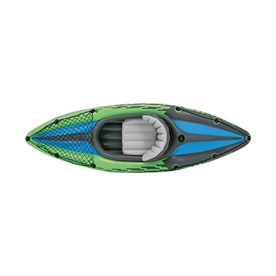 Intex Challenger Kayak Inflatable Set with Aluminum Oars 2 Nimble, durable kayak is made of durable welded material with eye catching graphics for added safety on the lake or slow moving river Cockpit is designed for comfort and maximized space, and inflatable I beam floors add stability Cargo net to store extra gear, and grab line on both ends of kayak; inflatable seat with backrest
