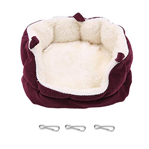 Kuuleyn Cama Colgante para Mascotas cálida, casa Lavable, sofá Nido para Mascotas, Cama Colgante Cuadrada para Mascotas pequeñas como el Conejillo de Indias(Red)