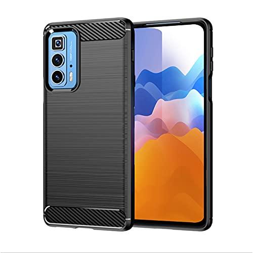 SCL Hülle Für Moto Edge 20 Pro Handyhülle Motorola Edge 20 Pro Hülle, [Schwarz] Carbon-Faser Gebürstete Textur Design Schutzhülle mit Anti-Kratzer & Anti-Stoß Absorbtion Technologie