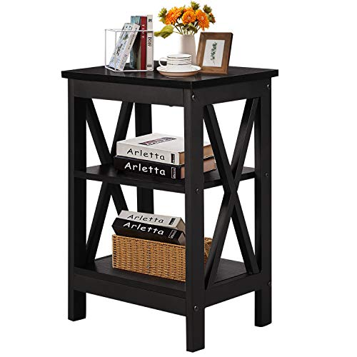 VECELO Side Table Wooden Nightstand with 3-tier Shelves Easy to Assembly Lamp Furniture for Bedroom and Living Room, Black