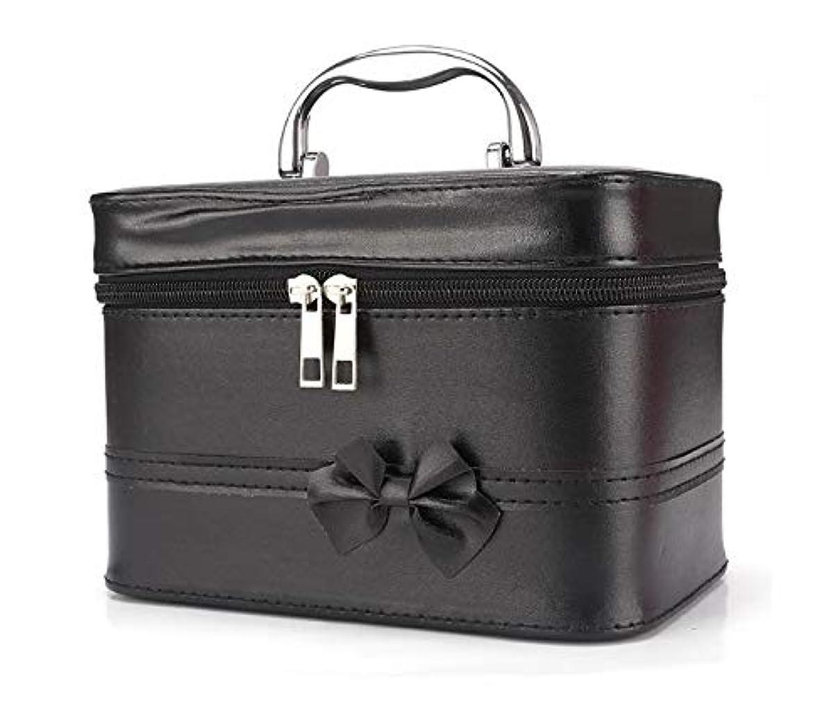種困惑した弾薬化粧箱、弓スクエアポータブル化粧品袋、ポータブルポータブル旅行化粧品ケース、美容ネイルジュエリー収納ボックス (Color : ブラック)