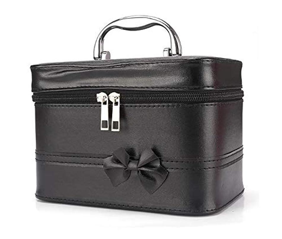 豆鹿パイル化粧箱、弓スクエアポータブル化粧品袋、ポータブルポータブル旅行化粧品ケース、美容ネイルジュエリー収納ボックス (Color : ブラック)