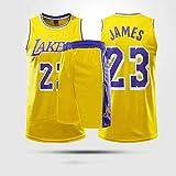 Trajes De Baloncesto Para Niños, Los Angeles Lakers # 23 LeBron James Jerseys De Baloncesto De La NBA Trajes De Verano T-Shirts Chalecos Tops Deportivos + Pantalones Cortos,Amarillo,XL(Child)145~155CM