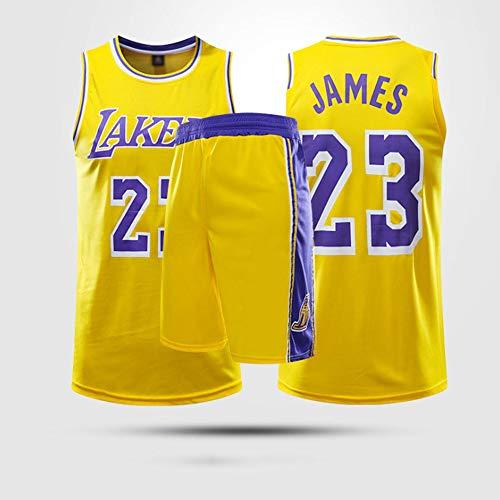 YZQ Uniformes De Baloncesto para Niños, Los Angeles Lakers # 23 Lebron James NBA Baloncesto Jersey Trajes Casuales Tops Camisetas Sueltas Vestidos Transpirables + Pantalones Cortos,Amarillo