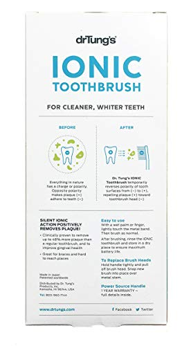 DrTung's Ionic Toothbrush with Replacement Head, Ready-to-Use Best Toothbrush Ionic Professional Toothbrush