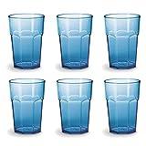 Omada Design set de 6 vasos de bar, refresco o bebida larga 42.5 cl, 12.5 cm de alto en plástico, irrompible, apilable, octogonal y apto para lavavajillas, Unglassy Line