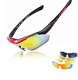 Wolfbike riding cycling Bicycle Bike UV400 Sports Sun Glasses Goggles with 5 Lens - RED