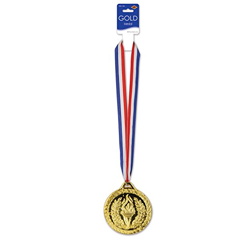 Beistle 4, 30-Inch, Red/White/Blue/Gold Medal with Ribbon