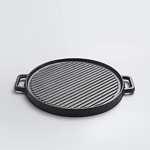DHXYII Frying panFried Steak Tweezijdig Oude Gietijzeren Pan Verdikte Streep Flapjack Barbecue Pot Niet Stick Elektromagnetische oven Rosteren Pan 30 cm.