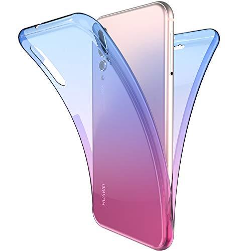 Coque Huawei P20 Pro Intégral 360 Degres avant + arrière Full Body Protection Couleur de dégradé Transparente Silicone Gel TPU Souple Housse Etui Case Coque pour Huawei P20 Pro,Bleu Violet