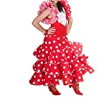 Anuka Vestido de niña para Danza Flamenco o sevillanas (Rojo, 10/11 años)