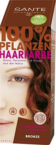 SANTE Naturkosmetik Pflanzen-Haarfarbe Pulver Bronze, Hennapulver, Warmes mittelbraun, Glänzende Farben, Grauabdeckung, Vegan, 100g