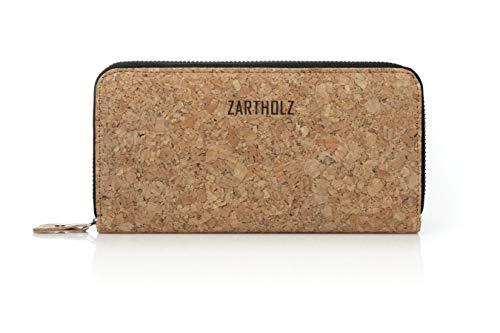 ZARTHOLZ Vegane Geldbörse aus Korkleder mit RFID Schutz   Damen Portmonnaie   Großer Geldbeutel (Kork Natur)