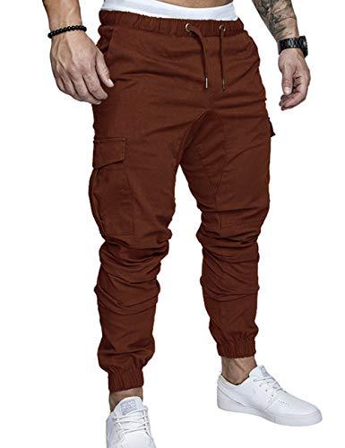 SOMTHRON  Herren Elastische Taille Gürtel Baumwolle Jogging Sweat Hosen Plus Size Mode Lange Sports Cargo Hosen Shorts mit Taschen Joggers Activewear Hosen, XL, Kaffee
