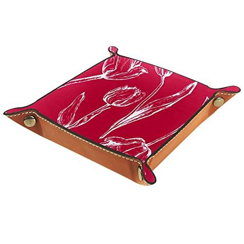 MUMIMI Cuarto de baño cocina aparador vanidad bandeja joyería plato anillo titular organizador cosmético color rojo mano dwarn Tulip flor
