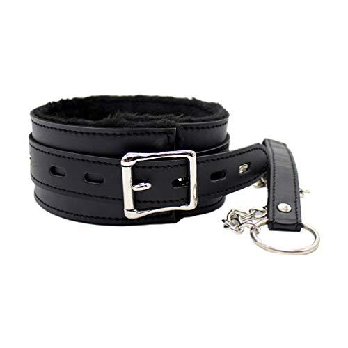Milisten Halsband Halskette Kragen Plüsch Leder Sex Kragen Leine Rückhaltespielzeug (Schwarz)