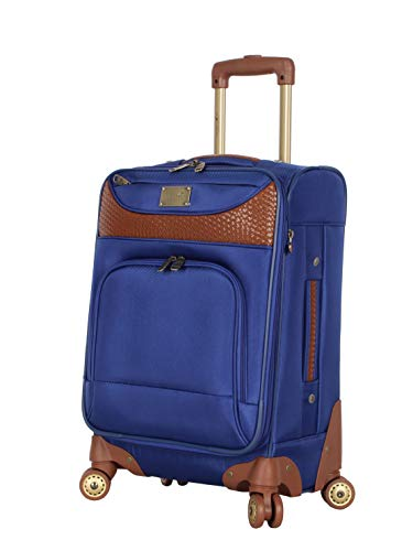 Caribbean Joe Carry on Luggage Collection - Designer Lightweight Softside Expandable Suitcase- Durable 20 Inch Bag with 8-Rolling Spinner Wheels (Royal Blue)
