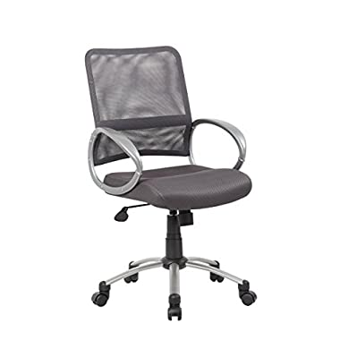 Boss Office Products B6416-CG Mesh Back Task Chair with Pewter Finish in Charcoal Grey
