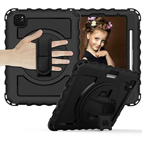 For IPad Air 360 Degree Rotation PC + Silicone Shockproof Combination Case With Holder & Hand Grip Strap & Neck Strap & Pen Slot Holder,luckyqq (Color : Black)