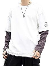 Tシャツ メンズ 長袖 秋服 シャツ メンズ カットソー 無地 丸首 ロングTシャツ カジュアル ロンt 綿100% ゆったり オシャレ トップス 大きいサイズ 秋 冬 黒 2XL