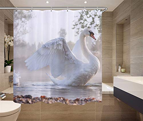 YEDL Hochwertige Möbelzubehör Digitaldruck 3D-Simulation Tiermuster Duschvorhang Schwan Stoff Duschvorhang 180 × 180Cm