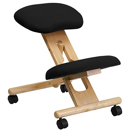 Flash Furniture Mobile Wooden Ergonomic Kneeling Office Chair in Black Fabric