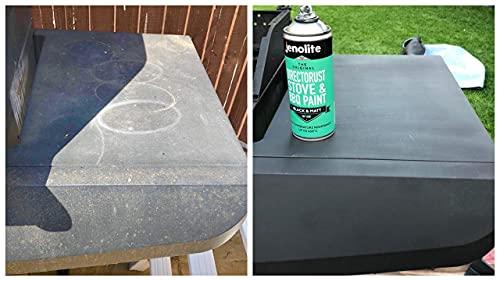JENOLITE Directorust BBQ & Stove Aerosol Paint - Black Matt - Very High Temperature Resistant Up to 650°C - 400ml