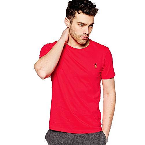 Ralph Lauren Camiseta Basica para Hombre Custom Slim Fit (XXL, Pompeian Red)