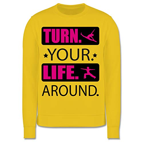 Sport Kind - Turn. Your. Life. Around. - schwarz/Fuchsia - 9/11 Jahre (140) - Gelb - JH030K - Kinder Pullover