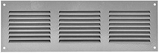 Rejilla de ventilación (300 x 100 mm, con protección contra insectos, rejilla de protección contra la intemperie y salida de aire, metal), color gris