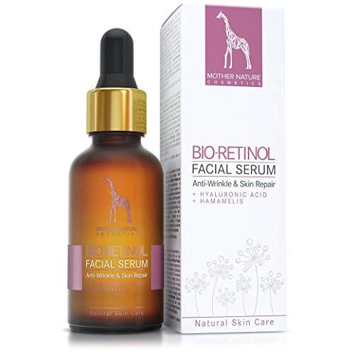 BIO-Retinol Serum HOCHDOSIERT - 2,5% Retinol Anti-Aging Formel mit Hyaluronsäure und Hamamelis - VEGAN - 30 ml MADE IN GERMANY - Feuchtigkeitsspendende Gesichtspflege, gegen Falten