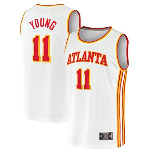 TOPSTEE Chalecos de baloncesto para hombre, uniforme Trae Hawks NO.11 Atlanta Young 2020/21 Fast Break Jugador Jersey - Edición Asociación - Blanco
