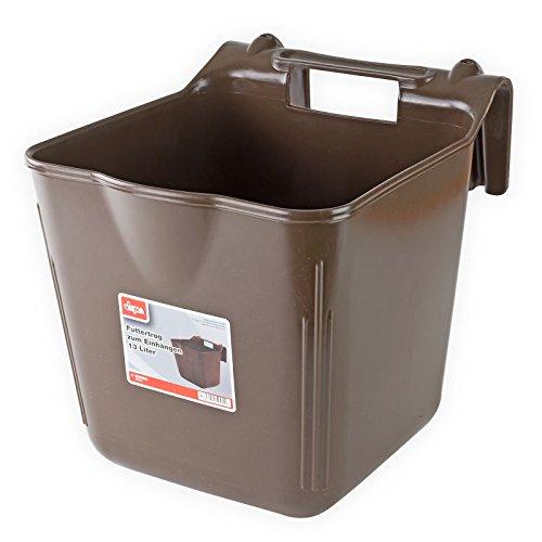Futtertrog Kälbertrog Pferdetrog Trog Tränkeeimer zum Einhängen 13 Liter braun