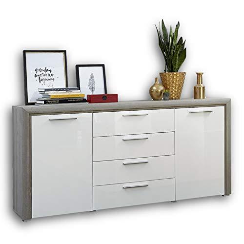 CELIA Sideboard in Silber-Eiche Optik - moderne und ausdrucksstarke Softclose Kommode für Ihren Wohnbereich - 172 x 88 x 42 cm (B/H/T)