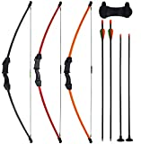 CPTARCH 45' Archery Bow and Arrow Set Takedown Recurve Bow Sports Game Hunting Target Shooting CS LARP Toy Gift Bow Kit with 4 Arrows(2 Sucker Arrows) 15-20Lbs for Teens Youth Kids Beginners(Juniors)