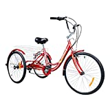 MarKnig Adult Tricycles 24/46 inch Adult Tricycle 3 Wheeled Bike, with Large Basket for Seniors, Women, Men for Recreation, Shopping, Exercise - Blue/Red (24-Red)