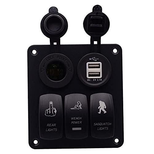 RRunzfon Cierre el Panel de Interruptor del Panel Combinación voltímetro con zócalo de energía Dual USB para Coche Barco Marina Camiones Motocicleta