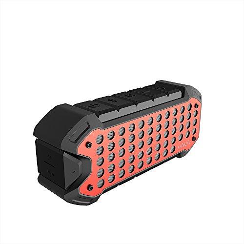 VAVA Outdoor Lautsprecher Wasserdicht, VOOM 23 Speaker Bluetooth 4.1 mit Eingebautem Mikrofon Staubdichte 24 Stunden Akkulaufzeit 5200mAh für Aktivitäten im Freien Red